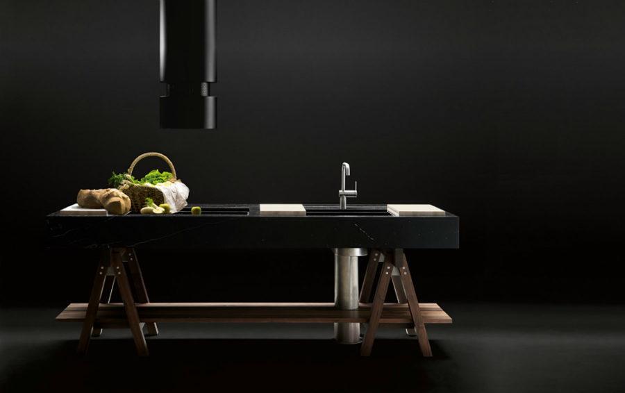 Оригинальный дизайн раковин для кухни - дизайн раковины в тёмных цветах