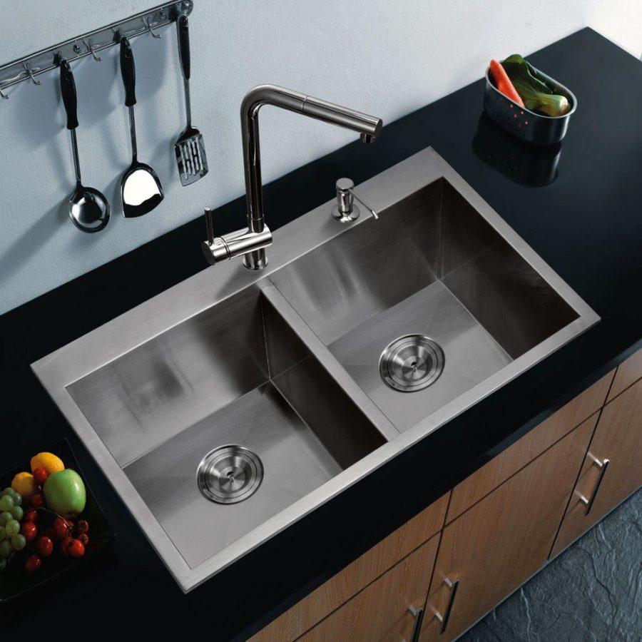 Оригинальный дизайн раковин для кухни - двойная раковина из нержавеющей стали
