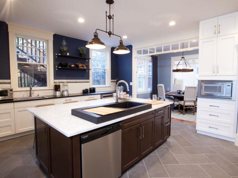 Оригинальный дизайн раковин для кухни - раковина посреди кухни