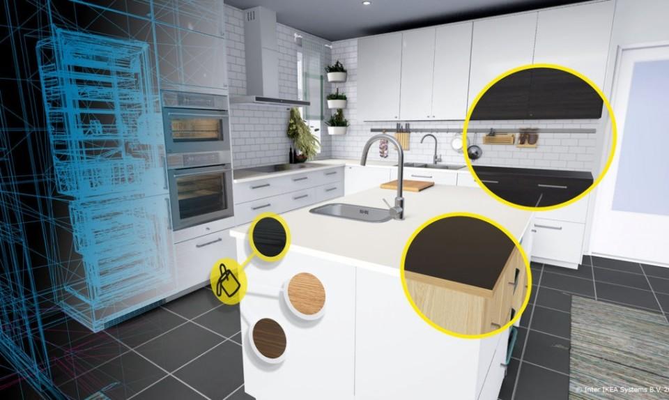 Меню для изменения цвета в приложении IKEA VR