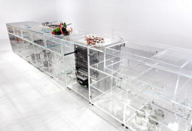 Прозрачные шкафы для кухни из стекла