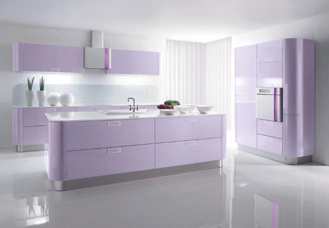 Дизайн интерьера кухни светлой цветовой гамме фиолетового