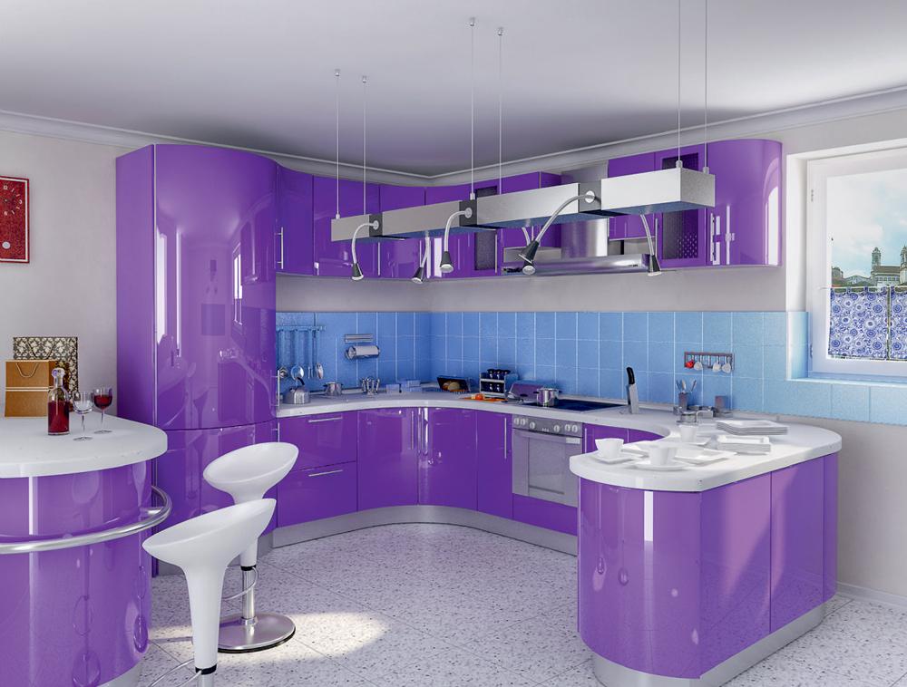 Дизайн кухни сиреневые фото