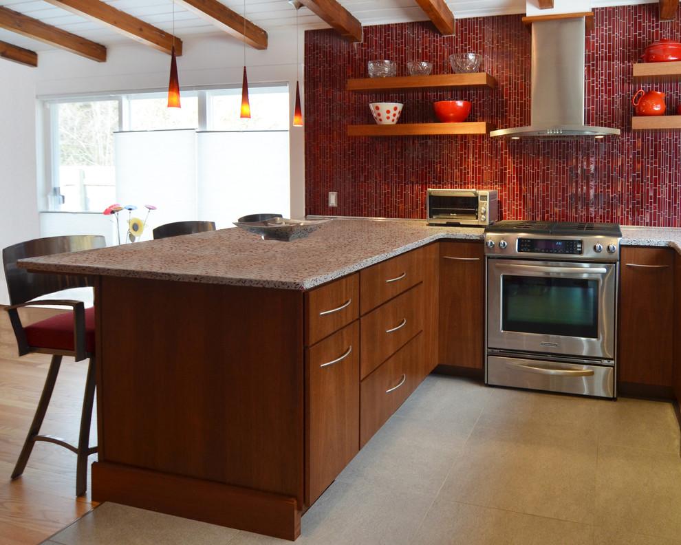 Красный кухонный фартук - фото 13