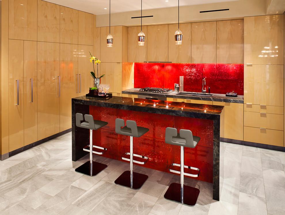Красный кухонный фартук - фото 5