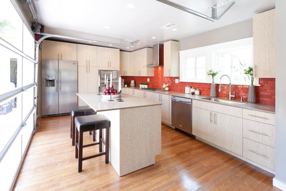 Красный кухонный фартук - фото 2