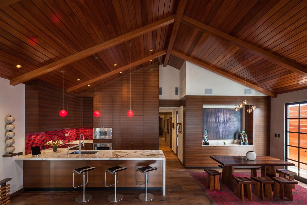 Красный кухонный фартук - фото 1