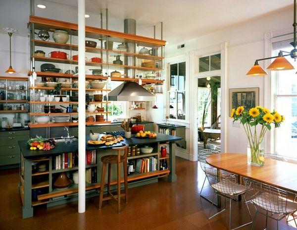 Подвесные полки над кухонным столом