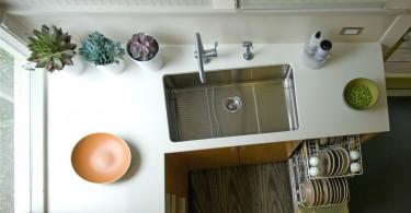 Современный дизайн кухонной мойки в интерьере кухни