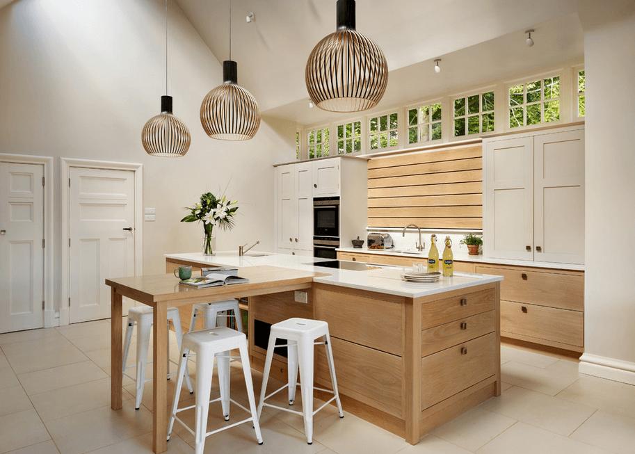 Оригинальные светильники в интерьере кухни