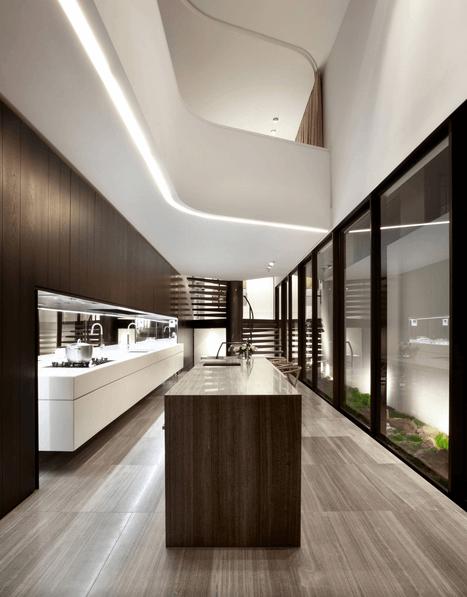 Тёмные деревянные панели в интерьере кухни