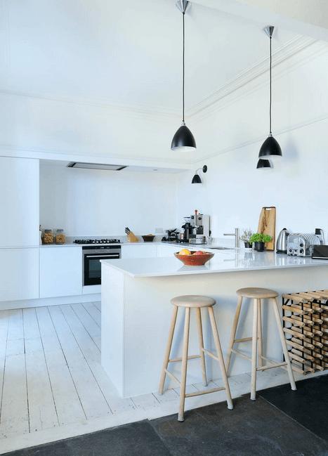 Белый деревянный пол в интерьере кухни