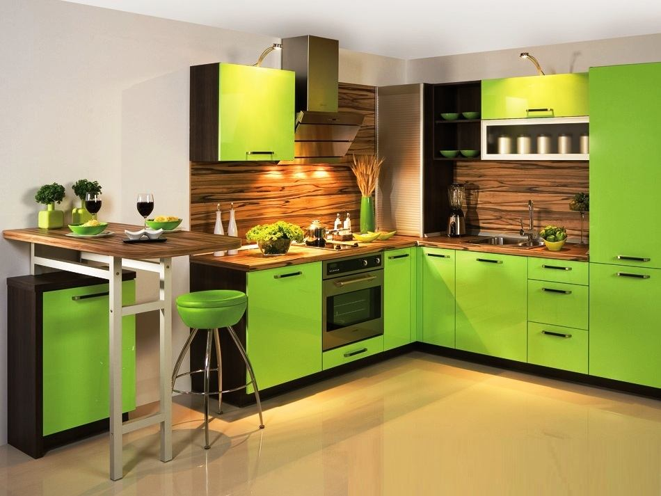 Дизайн кухни салатового цвета: нежное дыхание весны