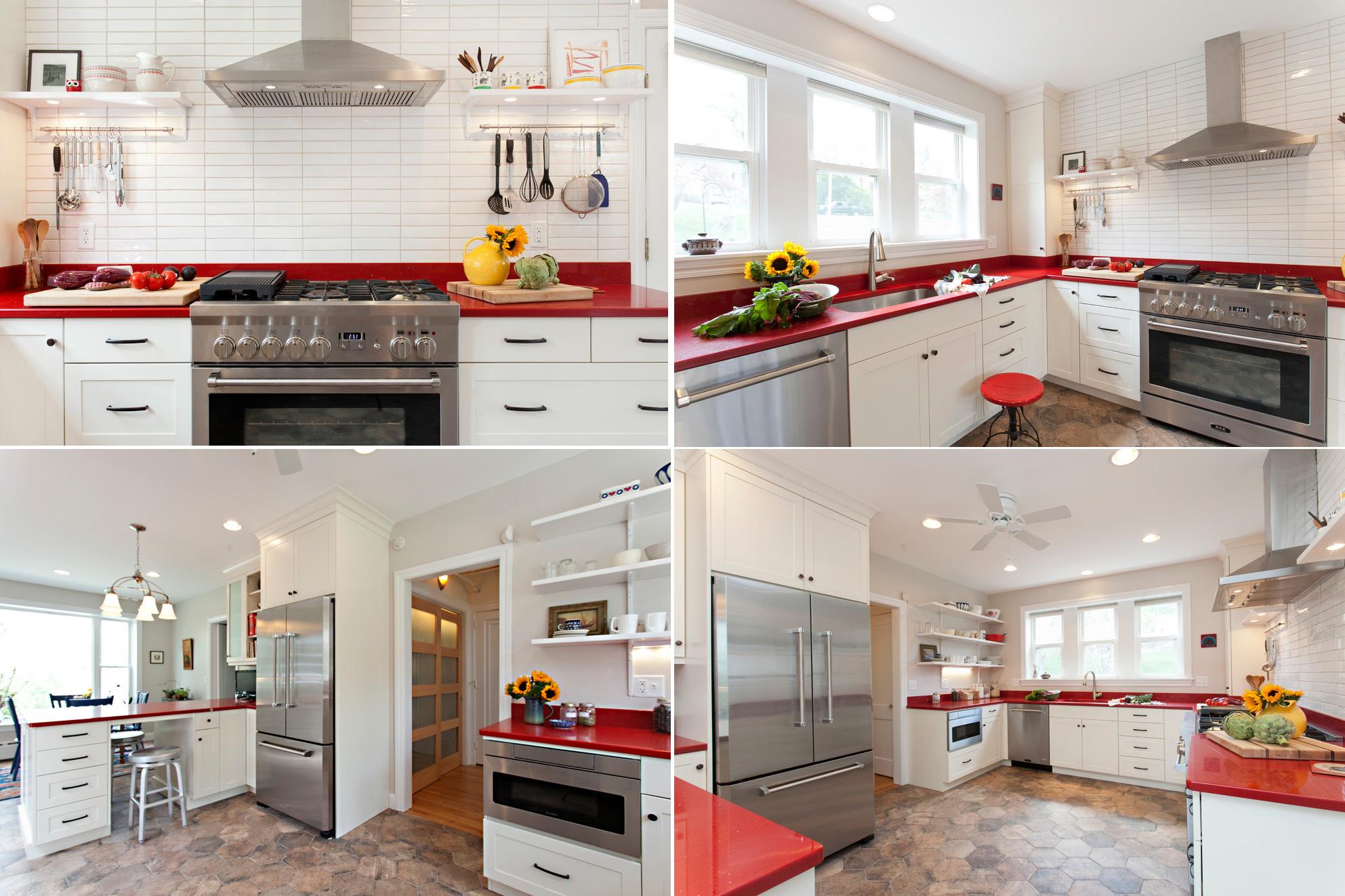 Белая кухня в скандинавском стиле с красной столешницей