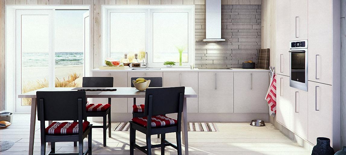 Дизайн интерьера белоснежной  кухни в скандинавском стиле от Marbodal