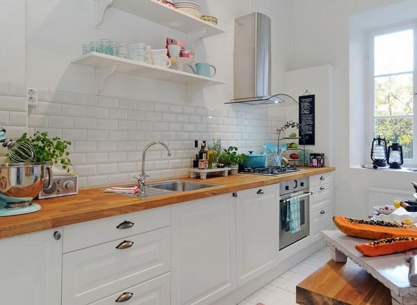 Потрясающий дизайн интерьера белоснежной кухни в скандинавском стиле