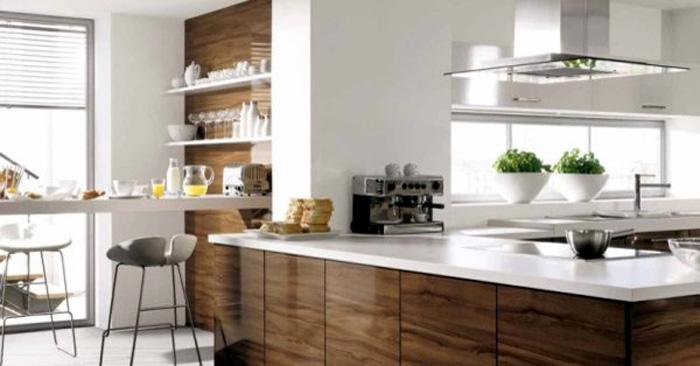 Оригинальный дизайн интерьера белой кухни с деревянными акцентами от Ilija Mirceski