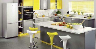 Серо-жёлтый интерьер кухни в современном стиле