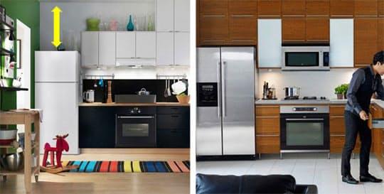 Устроив шкаф над холодильником, получают запасное место хранения
