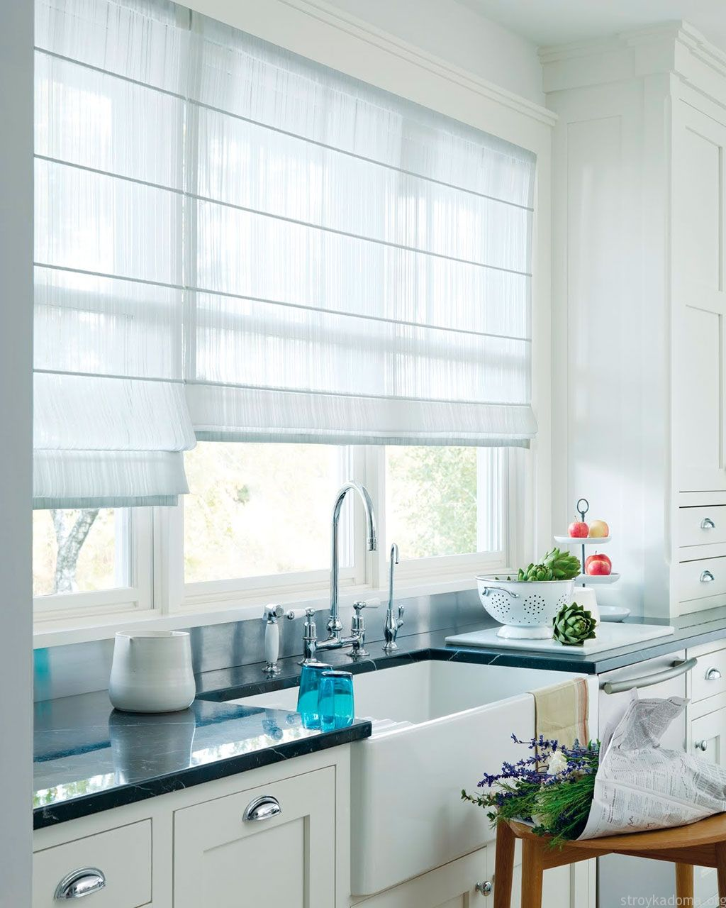 Шторы на кухню: белые кассетные жалюзи
