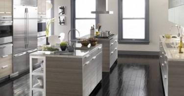 Кухня в серебристо-серой палитре
