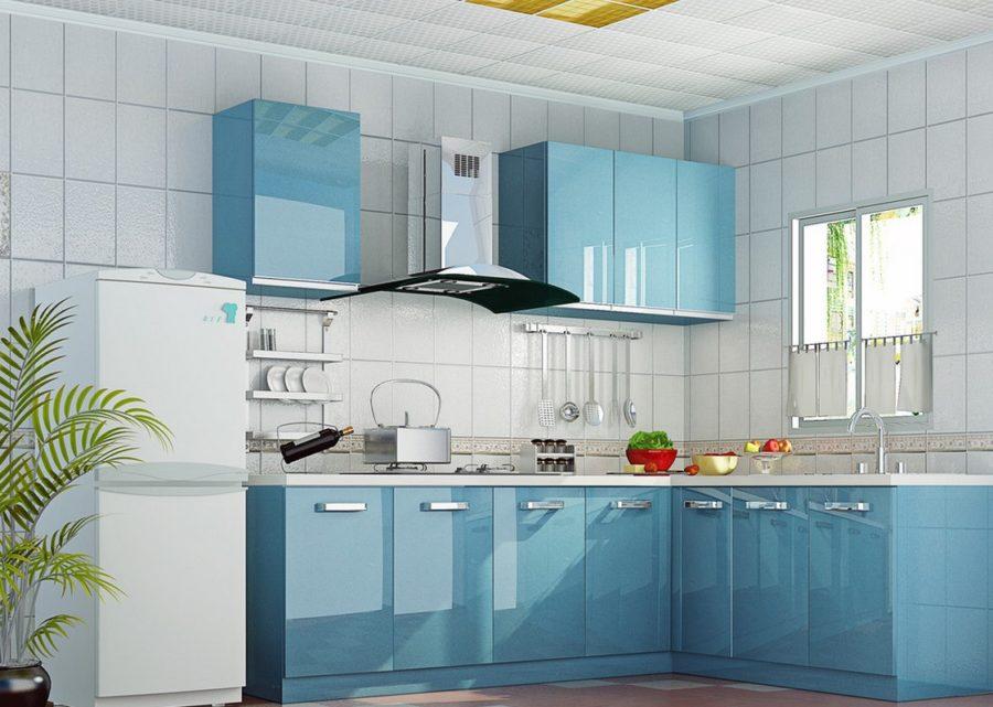 Необычный синий цвет в интерьере кухни - светло-голубой
