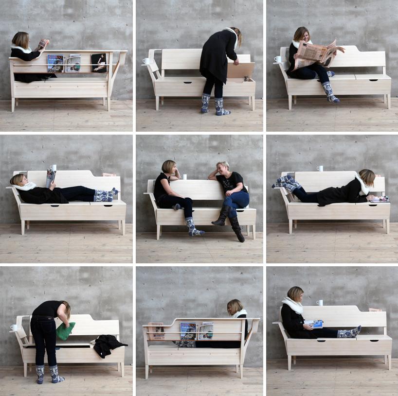 Фотоколлаж: функциональный дизайн деревянной скамейки På Sofflocket