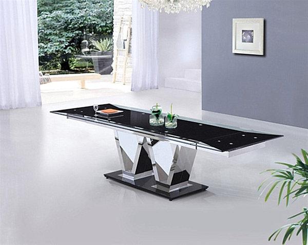 Прямоугольный длинный стол из закалённого стекла Neo Extending от Furniture Italia