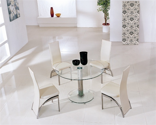 Круглый обеденный стол из закалённого стекла  Mini Round от Furniture Italia