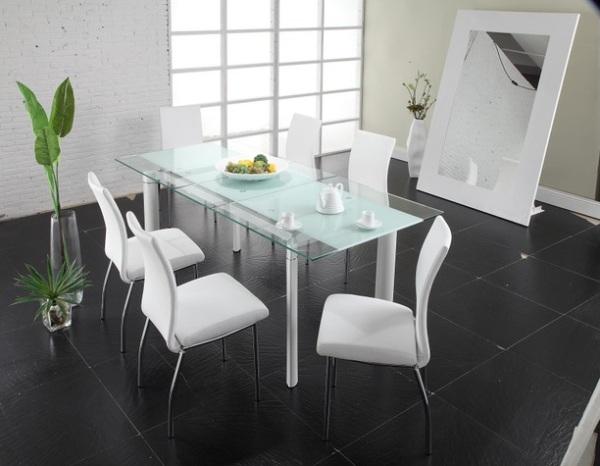Прямоугольный длинный стол из закалённого стекла  Chemistry White Dining Table от LaFlaT