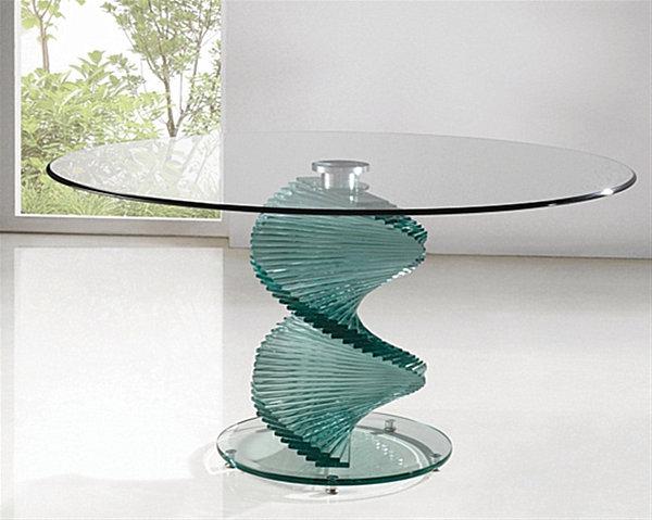 Круглый обеденный стол из закалённого стекла Twirl от Furniture Italia