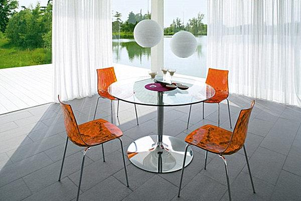 Круглый обеденный стол из закалённого стекла LaFlaT от AllModern