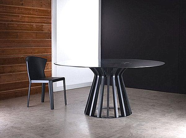 Круглый обеденный стол из закалённого стекла Luxo от Modloft Bennett