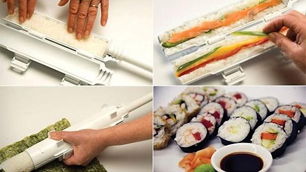 Фотоколлаж: приспособление для приготовления суши