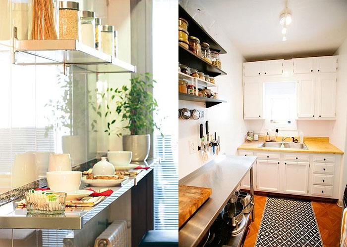 Открытые стеллажи для хранения специй и кухонных мелочей