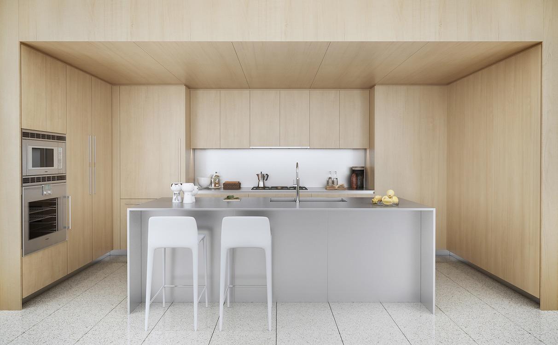 Деревянный гарнитур в интерьере кухни