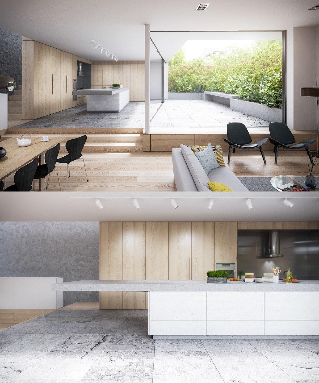 Дизайн большого кухонного острова в белом цвете