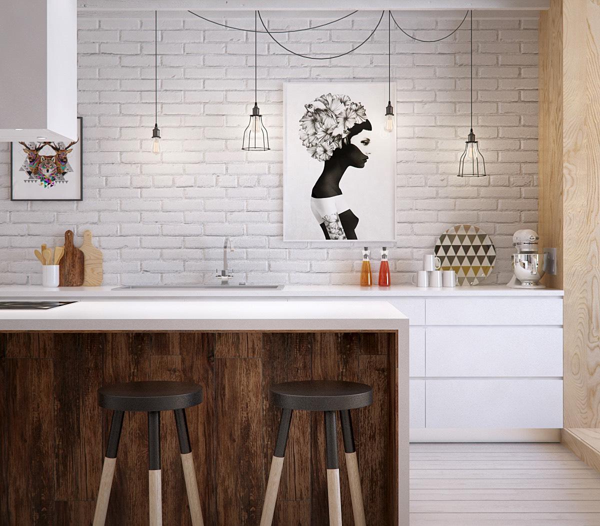 Белая кирпичная стена в интерьере кухни