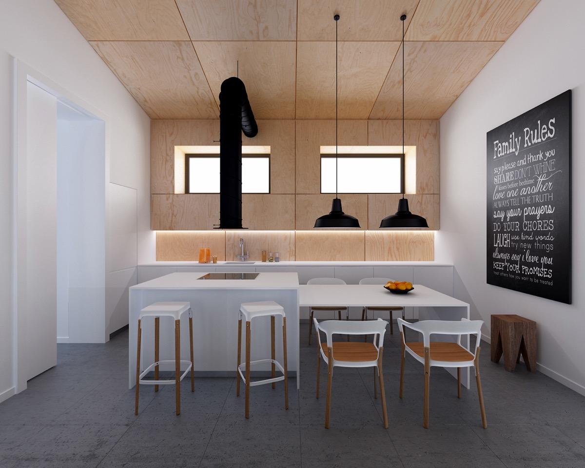 Потолок, отделанный деревянными панелями в интерьере кухни