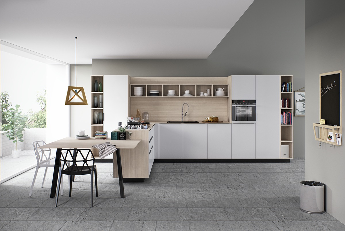 Дизайн белой кухни в минималистском стиле