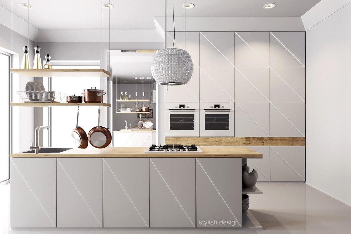 Роскошный белый светильник в интерьере кухни