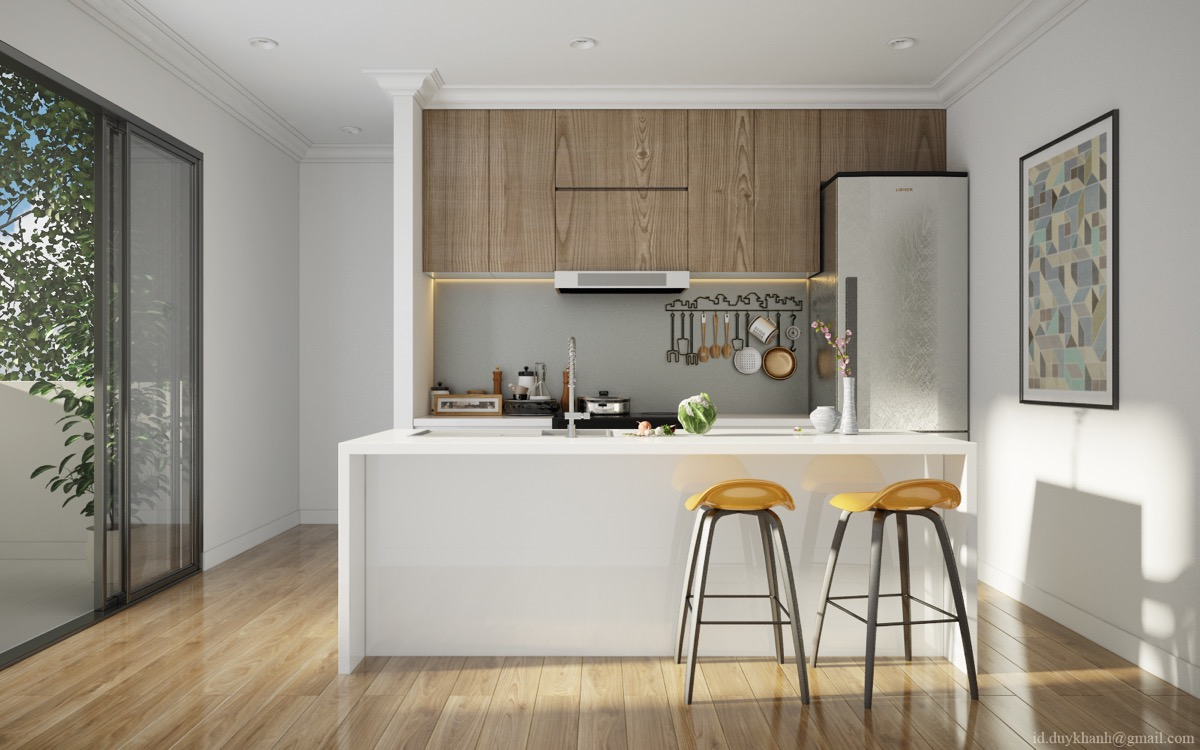 Жёлтые барные стулья в интерьере кухни