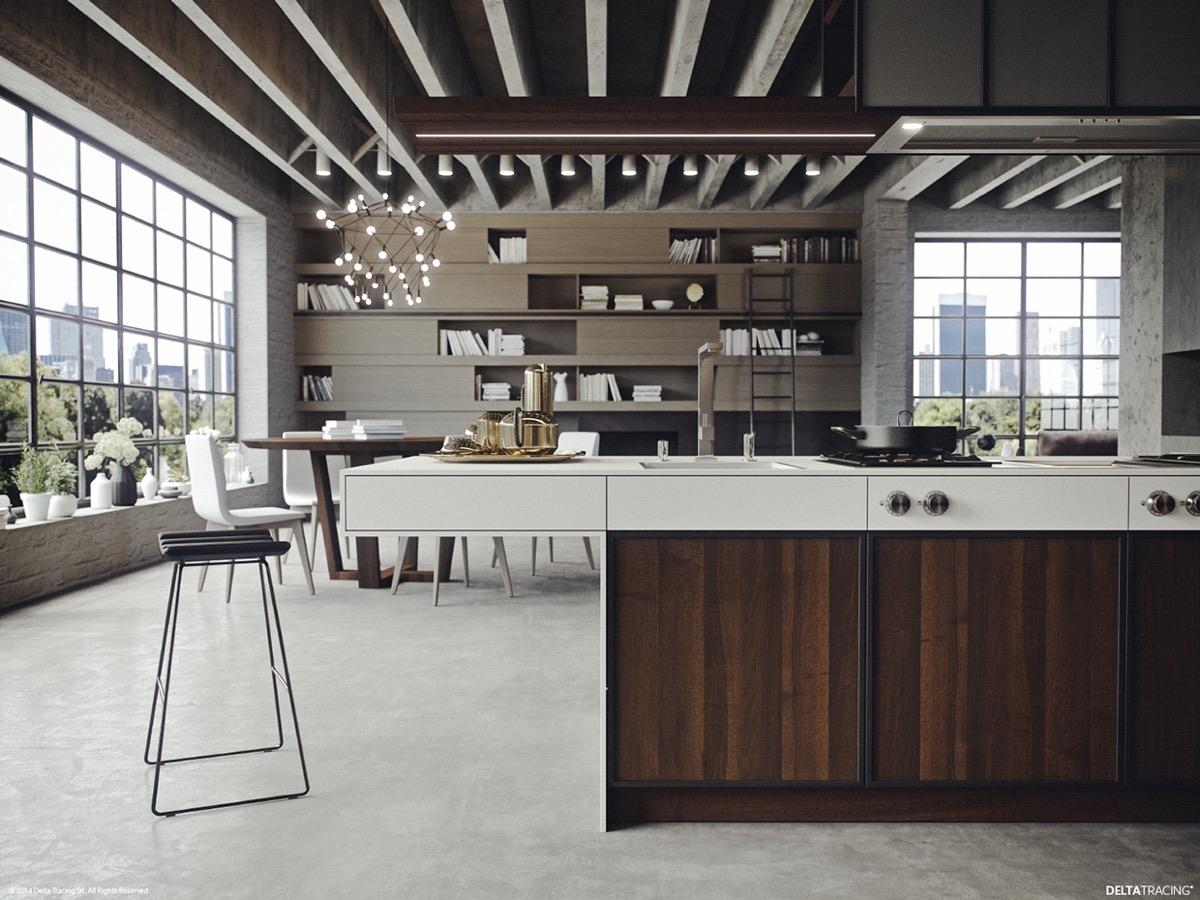 Отделка кухонного острова тёмными деревянными панелями