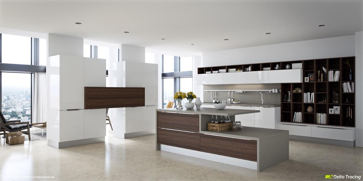 Большие белые шкафы в интерьере кухни