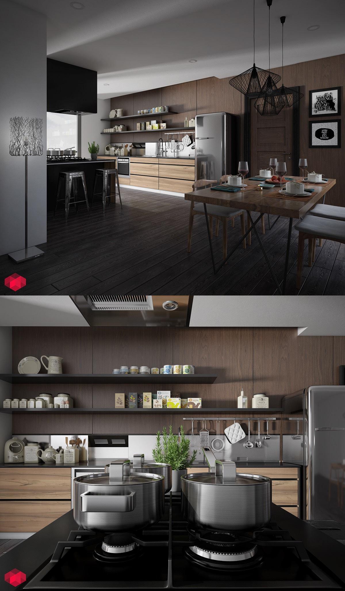 Отделка стены кухни тёмными деревянными панелями