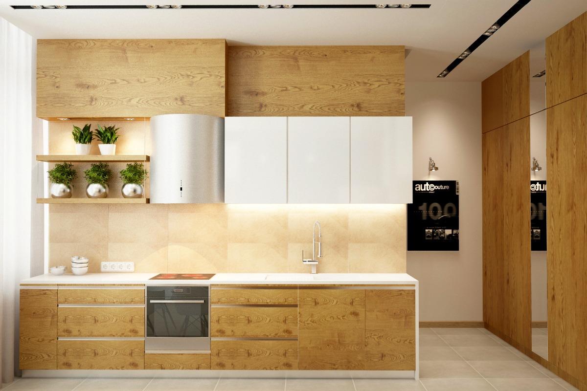 Кухонный гарнитур их натурального дерева в интерьере