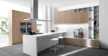 Монохромные интерьеры: белой кухни с деревом