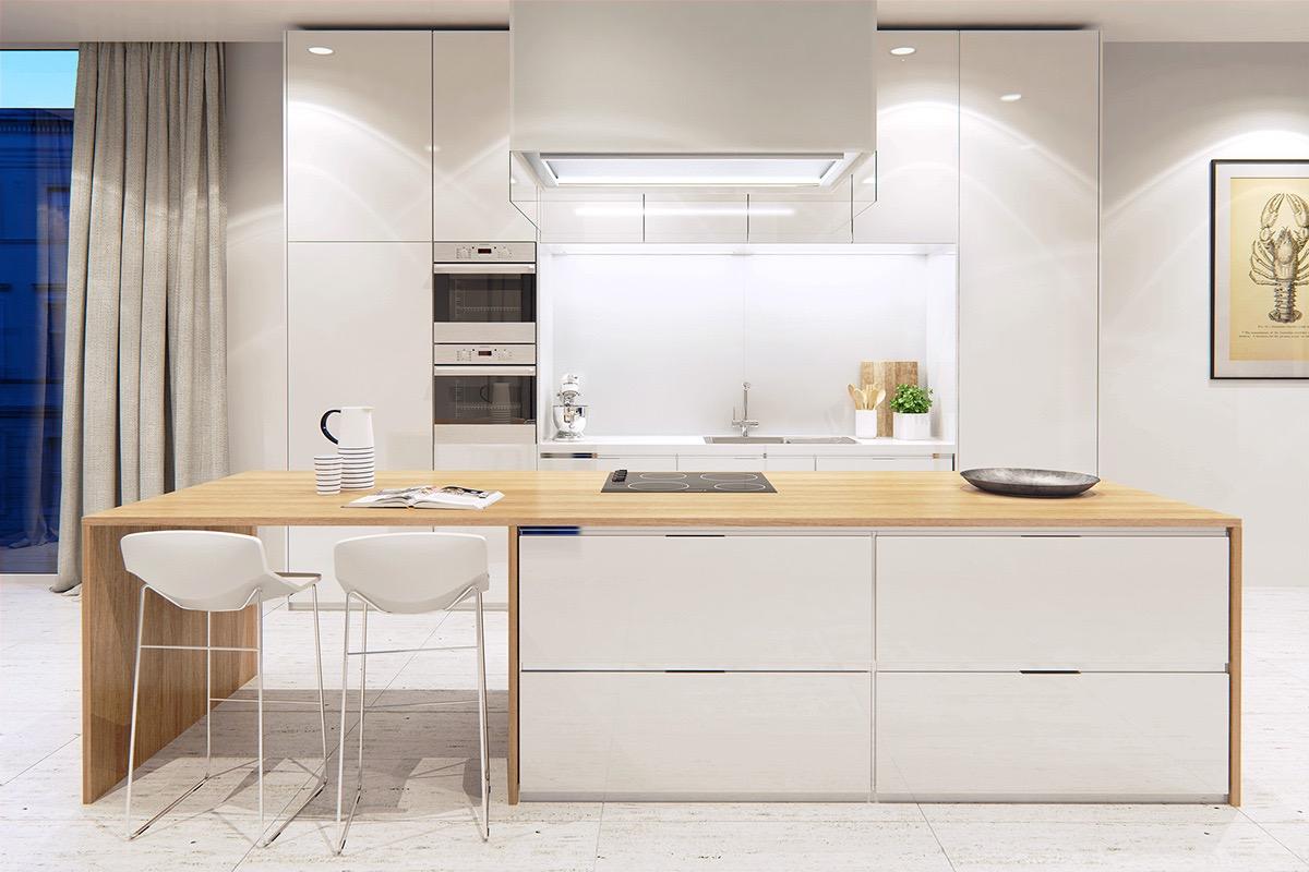 Глянцевая белая кухня с деревом
