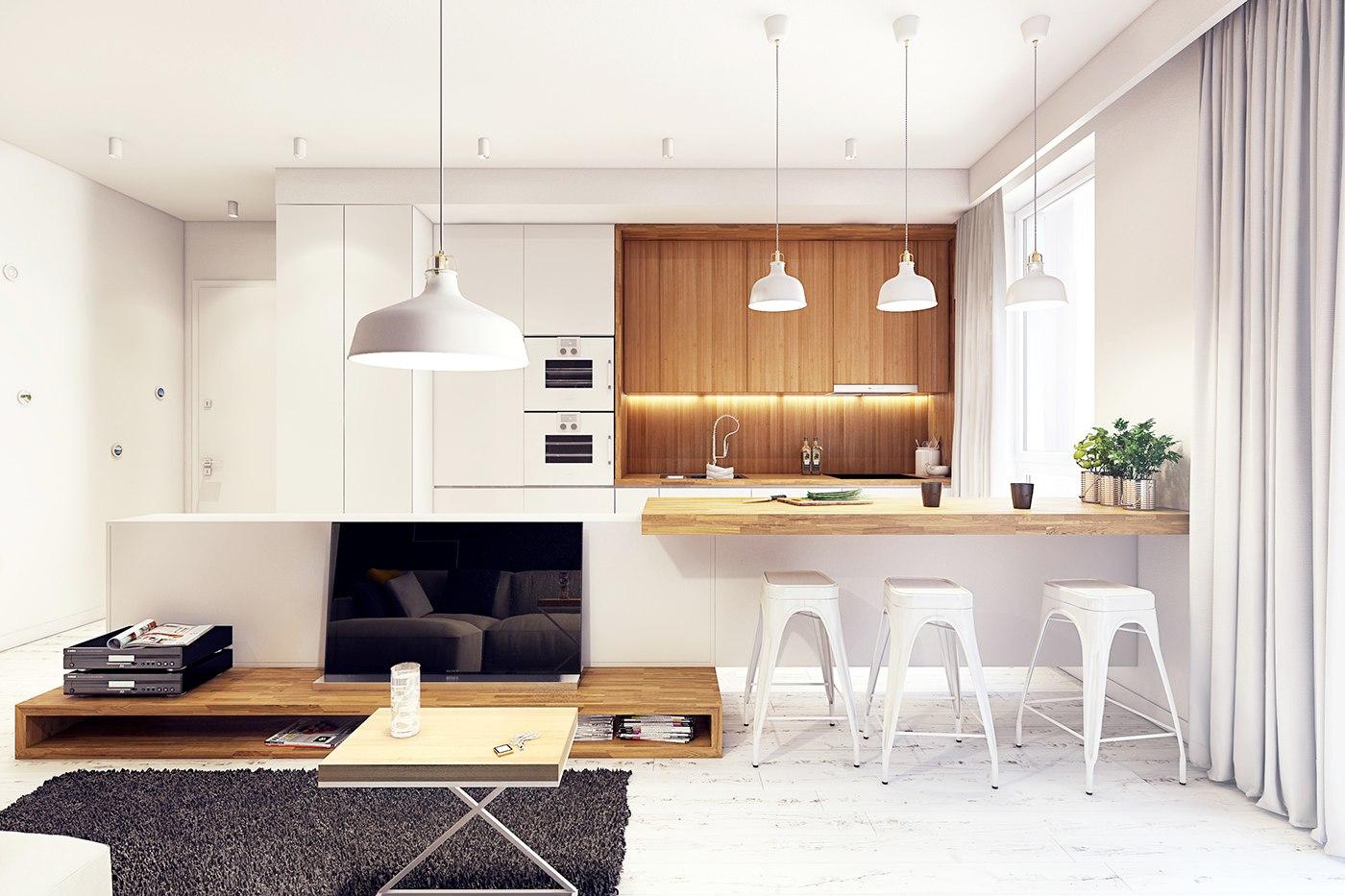 Необычная форма белых барных стульев в интерьере кухни