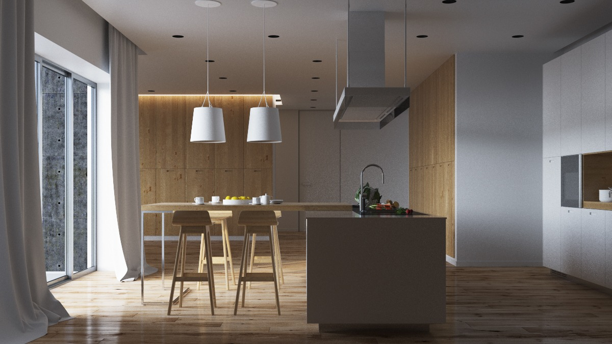 Белые абажуры потолочных светильников в интерьере кухни